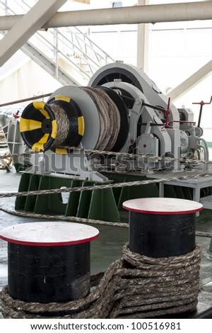 Ships mooring winch - stock photo