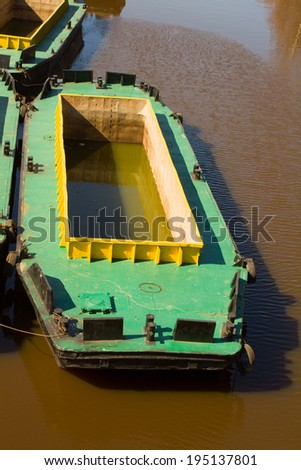 ships of ensuring engineering works on channel cleaning - stock photo