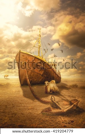 ships of the desert (illustration of a fictional situation, in the form collage of photos) - stock photo