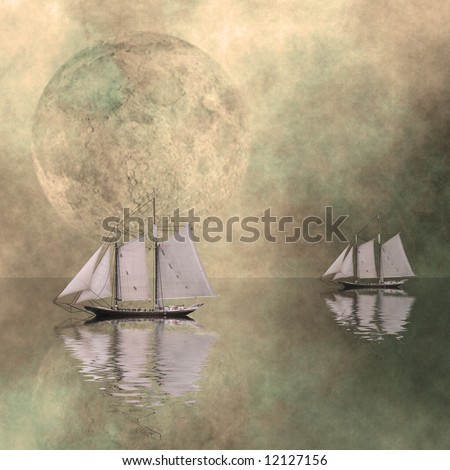 Ships on a still sea with large moon - stock photo