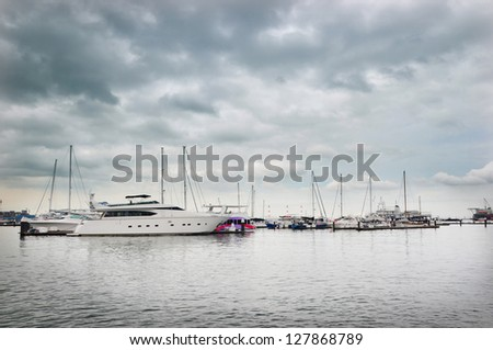 Ships on a stormy day - stock photo
