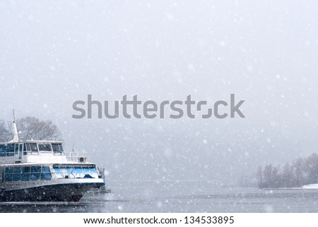 Ships on the river in winter park - stock photo