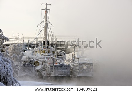 Ships on the river in winter park, covered with frost and mist-shrouded - stock photo