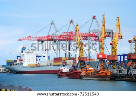 ships unloaded at the port - stock photo