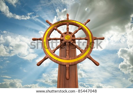 ships wheel - stock photo