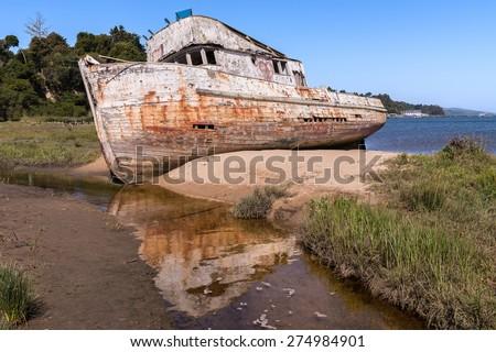 Shipwreck, Abandoned Wooden Boat - stock photo