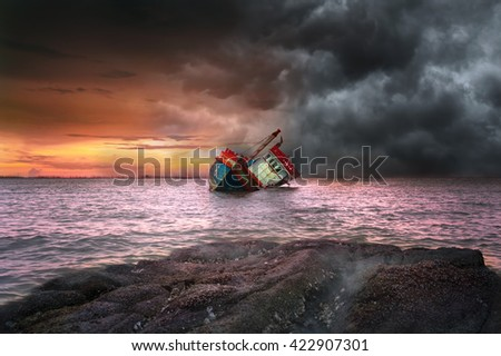Shipwreck and storm - stock photo