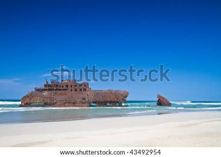 shipwreck cape verde - stock photo