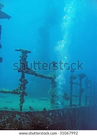 Shipwreck diving - stock photo