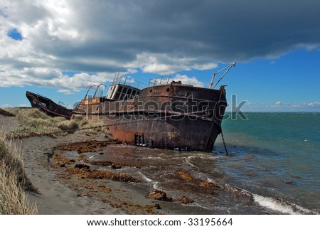 Shipwreck in Patagonia, Chile.
