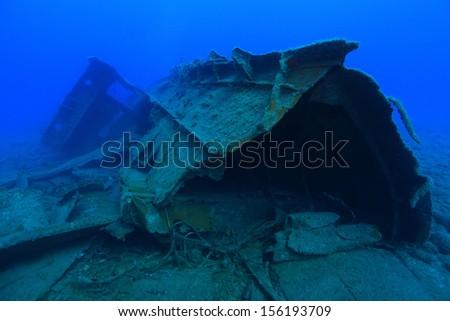 Shipwreck in the atlantic ocean - stock photo