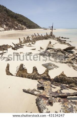 shipwreck of old steamship moreton island australia - stock photo