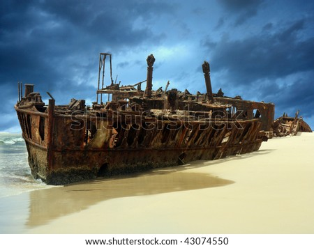 shipwreck of the meheno on Fraser Island - stock photo