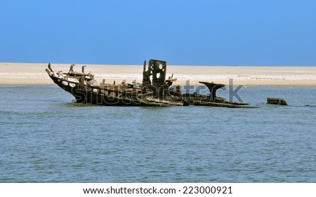 Shipwreck on the Skeleton Coast in Namibia, West coast of Africa