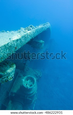 Shipwreck rested on her side. Salem Express, Red Sea.