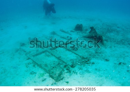 Shipwreck underwater - stock photo