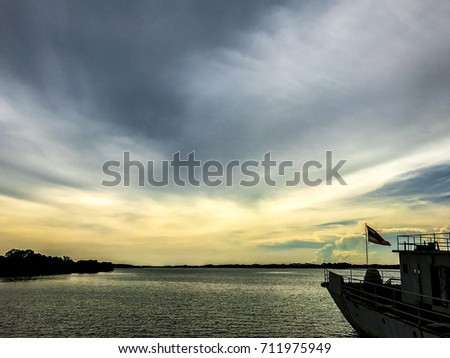 Shipyard in Chanthaburi province with beautiful sky, sea and beautiful sunset.