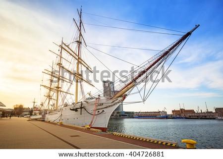 Shipyard in Gdynia city at Baltic Sea, Poland - stock photo