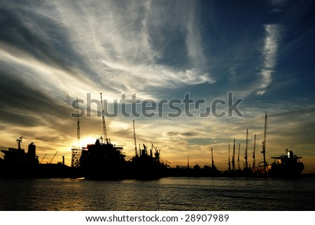 Shipyard in Singapore silhouette - stock photo
