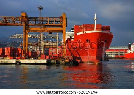 Shipyard - industrial view, Genoa, Italy - stock photo