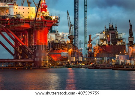 Shipyard industry - Oil Rig under construction in Gdansk, Poland. - stock photo