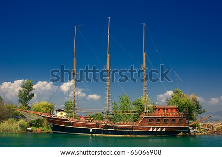 shipyard on river Manavgat in Turkey - stock photo
