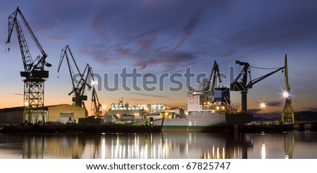Shipyard (panorama) - stock photo