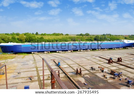 shipyard with new boat - stock photo