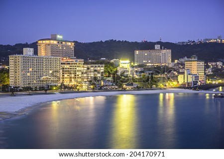Shirahama, Japan skyline at the beachfront resorts. - stock photo