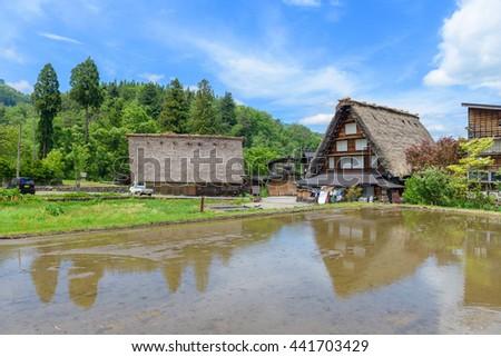 Shirakawago (Shirakawa Village) world heritage village in summer. Shirakawago is a village located in Gifu Prefecture, Japan. - stock photo