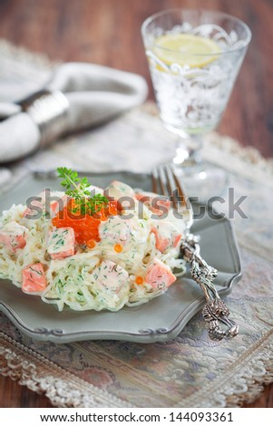 Shirataki noodles with smoked salmon and dill in creamy sauce, selective focus - stock photo