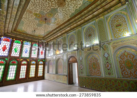 SHIRAZ - APRIL 15: interior of Qavam House (Narenjestan e Ghavam) in Shiraz, Iran on April 15, 2015. Qavam House is a traditional and historical house in Shiraz, Iran