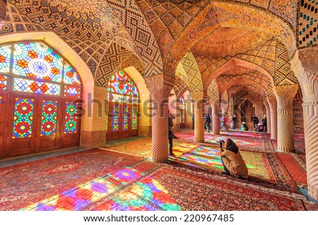 SHIRAZ, IRAN - December 30: An Interior view of Nasir Al-Mulk Mosque in Shiraz, Iran on December 30, 2012. It was built in 1888 and is known as Pink Mosque. - stock photo