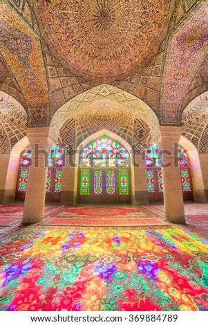 Shiraz, Iran - December 27, 2015: Nasir Al-Mulk Mosque in Shiraz, Iran, also known as Pink Mosque - stock photo
