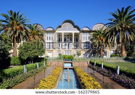 SHIRAZ, IRAN � OCTOBER 10: Eram Garden on October 10, 2013 in Shiraz, Iran. Eram Garden is a historic Persian garden and managed by Shiraz University. - stock photo