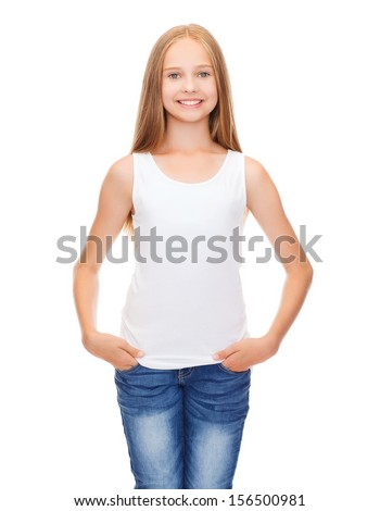 shirt design concept - smiling teenage girl in blank white shirt - stock photo