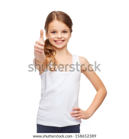 shirt design concept - smiling teenage girl in blank white shirt showing thumbs up - stock photo