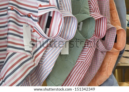 shirt on the hanger in many colors - stock photo