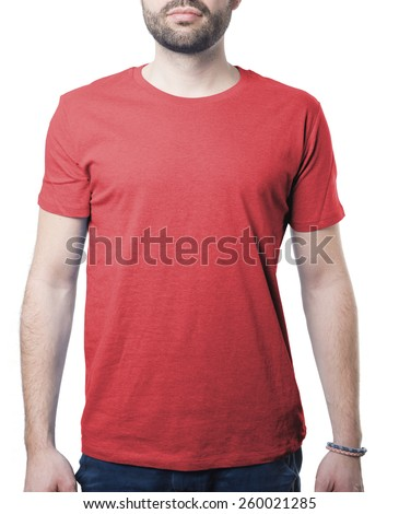 shirt template of man waring plain red shirt isolated on white with clipping path for background and garment - stock photo