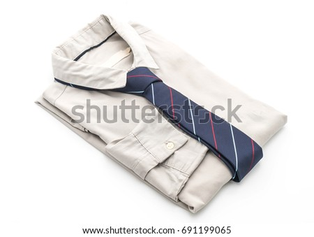 shirt with necktie on white background