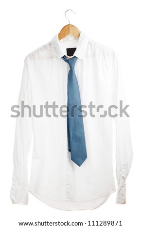 shirt with tie on wooden hanger isolated on white - stock photo
