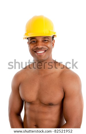 Shirtless Black Male Construction Worker with Strong Healthy Body on White Background