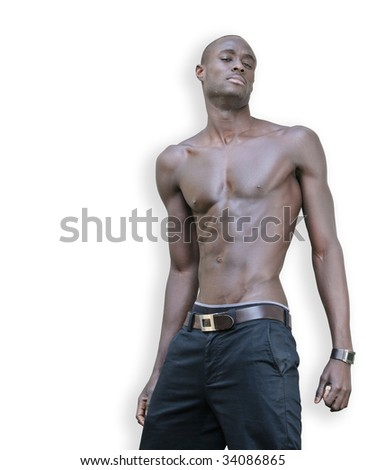 Shirtless black young adult showing his muscles. - stock photo