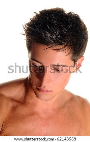 Shirtless boy over 100% white background - stock photo