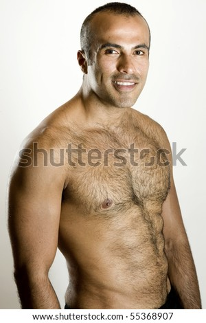 Shirtless hispanic man - stock photo