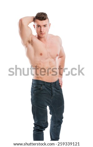 Shirtless male with six pack posing isolated on white background - stock photo