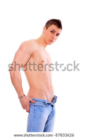 Shirtless Man in Jeans over white background