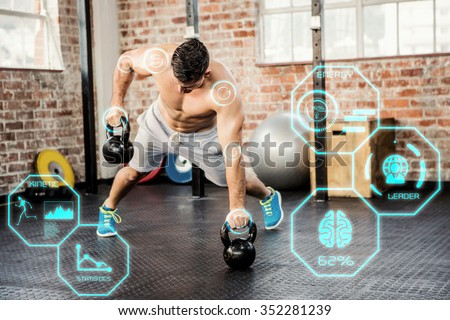 Shirtless man lifting kettlebell against fitness interface - stock photo