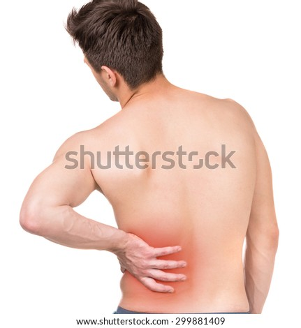 Shirtless man touching his back against white isolated background. Back view.