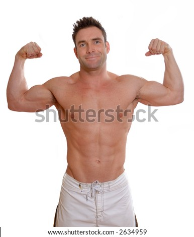 shirtless man with big muscles flexing biceps